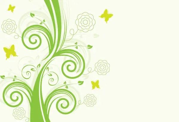 Green Floral Design Vector Background