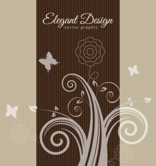 Elegant Flowers Brown Design Background Vector