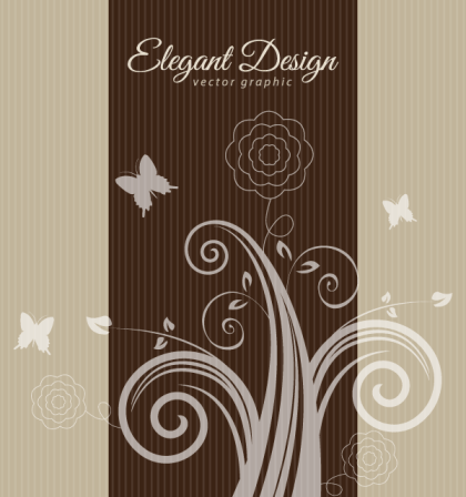 Elegant Flowers Brown Design Background Vector