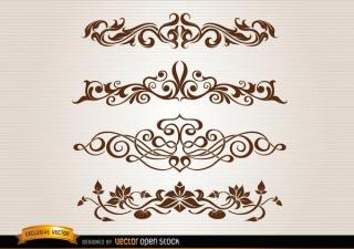 Vector Floral Swirl Decoration Set