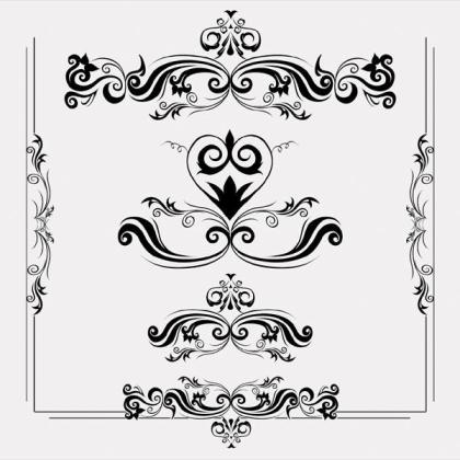 Floral and Swirl ornaments Shape Vector Art