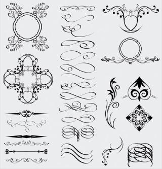 Decorative Floral Elements, Dividers Illustrator Pack