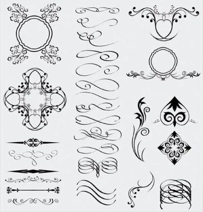 Decorative Floral Elements, Dividers Illustrator Pack