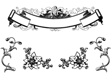 Free Antique Floral Ornaments and Scroll Clip Art