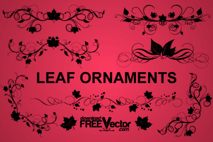 Floral Leaf Ornaments Vector Clip Art Image