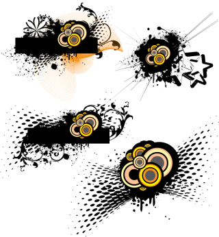 Free Grunge Vector with Circle and Halftone Elements