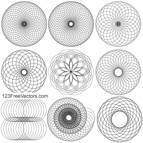 Line Art Circle Design Elements Vector Illustrator Pack