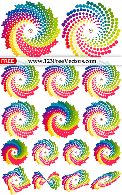 Colorful Rainbow Swirl Design Elements Vector Pack