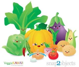 Vector Kawaii Vegetables