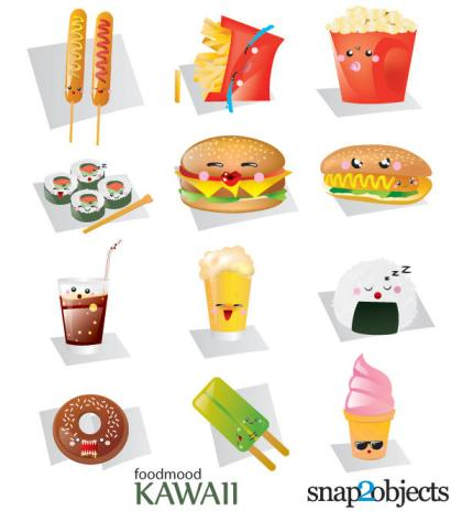 Free Vector Kawaii Fast Food