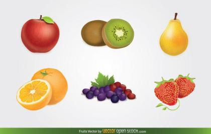 Fruits Vector: Apple, Kiwi, Pear, Grapes, Orange, and Strawberry