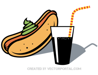 Hot Dog and Drink with Straw Vector Clip Art