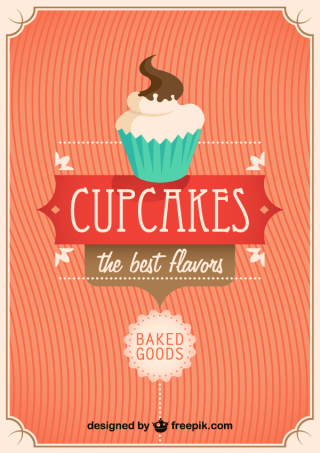 Vector Retro Cupcake Poster Design Template