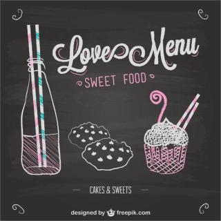 Love Menu Chalkboard Template Vector