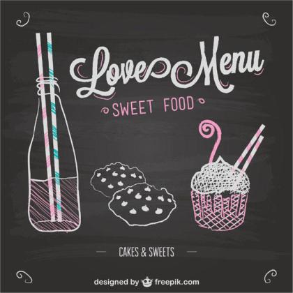 Love Menu Chalkboard Template Vector
