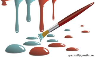 Free Vector Paint Drops and Paint Brush