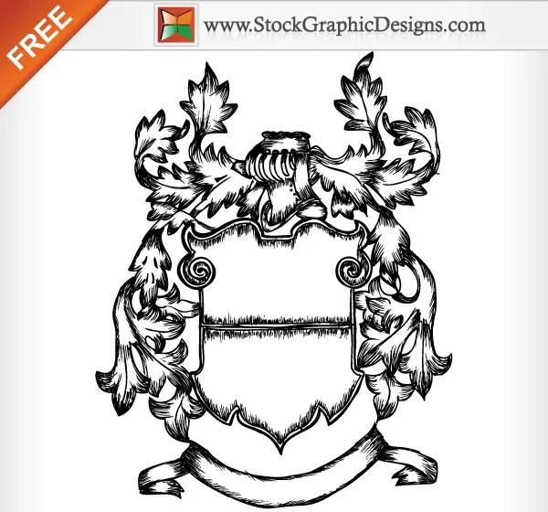 Medieval Ornate Heraldic Shield Free Vector Image