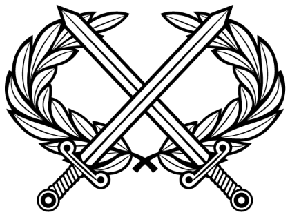 Heraldic Cross Swords with Laurel Wreath Vector Clip Art