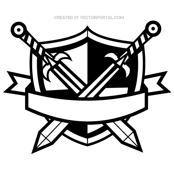 Heraldic Shield with Cross Swords and Banner Clip Art