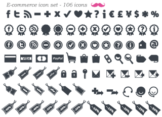 Free E-Commerce Icon Set Vector (106 minimal icons)