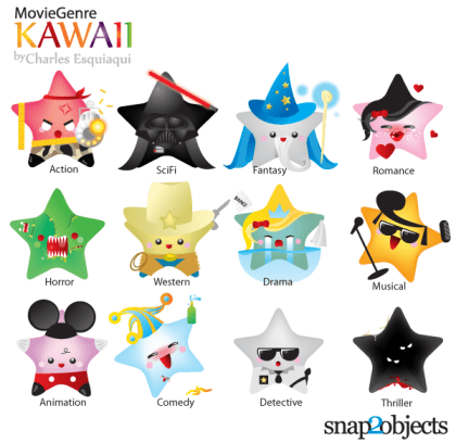 Free Vector Kawaii Movie Genres Icons