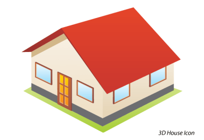3D House Icon Free Vector