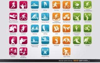 Olympic Sports Icons Free Vector