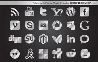 Silver Metal Social Media Icons Vector