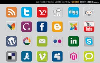 Rubber Social Media Icons Vector