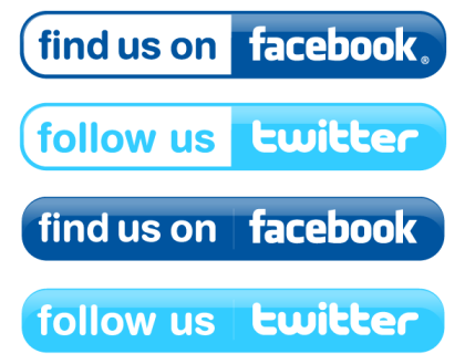 Facebook and Twitter Buttons Vector Free
