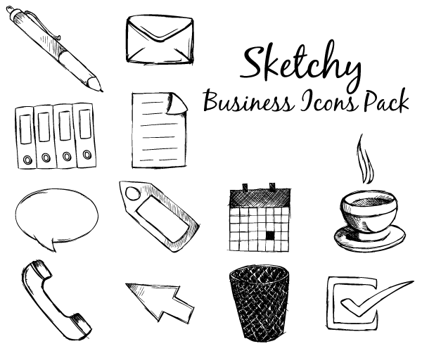 Sketchy Business Icons Free Vector Pack