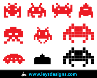 Space Invader Icons Vector
