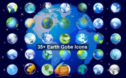 Earth Globe Vector Icons Set