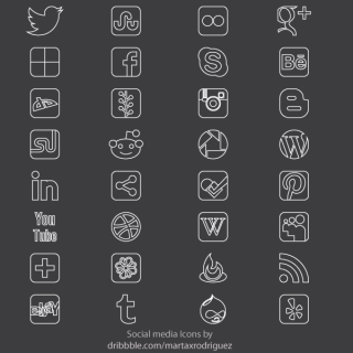 Free Vector Social Media Thin Icon Set