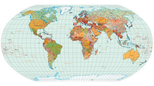Free Map Of The World Showing Countries.World Map With Countries Names Vector Free Download