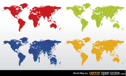Color World Map Vector Free