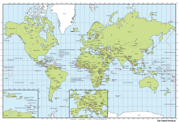 Free Vector World map with Capitals