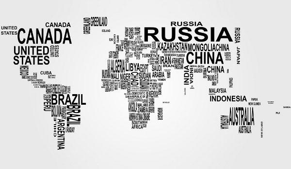 Free Vector World Map: Countries in Word Cloud