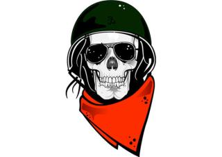 Skull in Military Helmet Free Vector