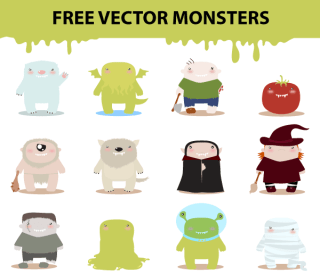 Free Cartoon Monster Characters Vector