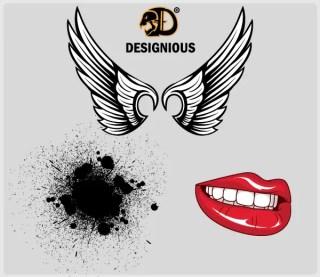 Wings, Lips and Ink Splatter Vector Samples