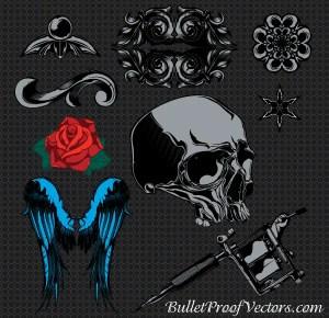 Free Vectors Sample Pack: Skull, Wings, Rose Flowers, Vintage Ornaments
