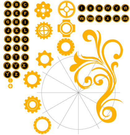 Vector Alphabet Letters and Numbers with Gear Wheel Illustration