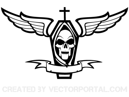 Vector Coffin with Cross, Skull, Wings and Ribbon