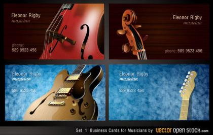 Musicians Business Card Designs Vector