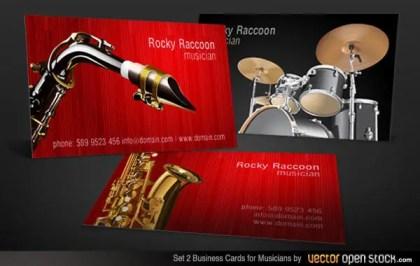 Musicians Business Card Free Vector Set