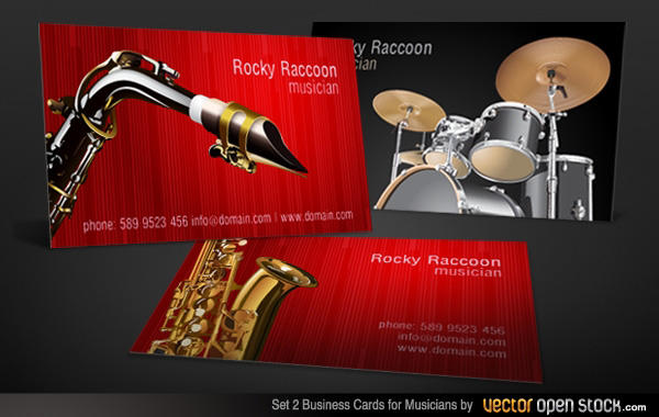 musicians business card free vector set 123freevectors