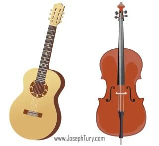 Free Acoustic Guitar & Cello Vectors
