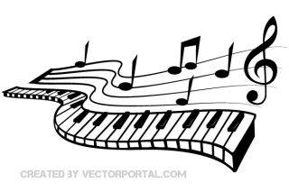 Keyboard and Music Notes Vector Image