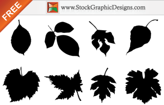 Free Leaf Silhouettes Vector  Set